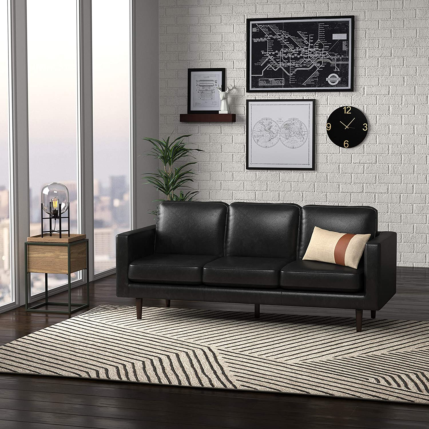 Rivet Revolve Modern Leather Sofa Couch Review by www.snoremagazine.com